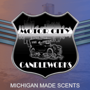 Motor City Candleworks shield on red/blue background of Detroit skyline